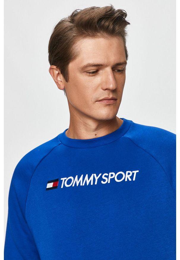 Niebieska bluza nierozpinana Tommy Sport z okrągłym kołnierzem, na co dzień