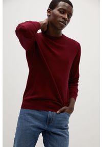 Czerwony sweter Mango Man długi, z okrągłym kołnierzem, casualowy, z długim rękawem