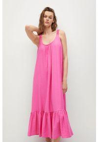 mango - Mango - Sukienka MAREA. Kolor: różowy. Materiał: włókno, materiał. Długość rękawa: na ramiączkach. Typ sukienki: rozkloszowane