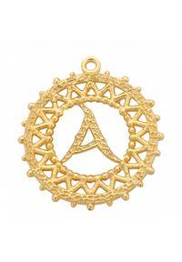 MOKOBELLE - Choker łańcuszkowy z literką 43 cm. Materiał: srebrne, pozłacane. Kolor: złoty. Wzór: ażurowy, aplikacja