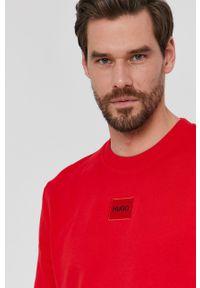 Hugo - HUGO - Bluza 50447964. Okazja: na co dzień. Kolor: czerwony. Materiał: dzianina. Wzór: aplikacja, gładki. Styl: casual