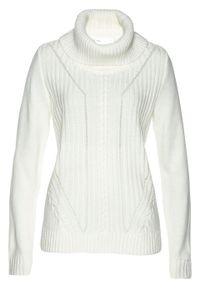 Biały sweter bonprix z golfem