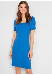 Sukienka w prążek z dekoltem karo bonprix lodowy niebieski. Typ kołnierza: dekolt w karo. Kolor: niebieski. Materiał: bawełna. Wzór: prążki