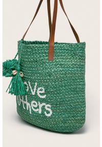 Zielona torba plażowa Desigual duża, na ramię, z nadrukiem