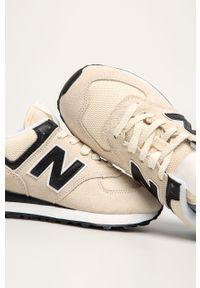Kremowe buty sportowe New Balance na sznurówki, z cholewką, z okrągłym noskiem