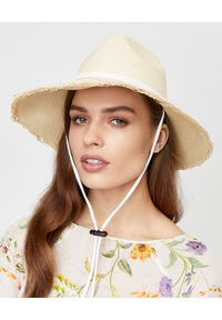 SENSI STUDIO - Słomiany kapelusz Panama. Kolor: beżowy. Materiał: zamsz. Wzór: aplikacja. Sezon: lato. Styl: boho