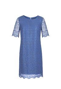 Niebieska sukienka Vito Vergelis w kolorowe wzory, na komunię, wizytowa