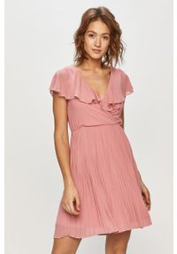 Różowa sukienka Vila na co dzień, mini