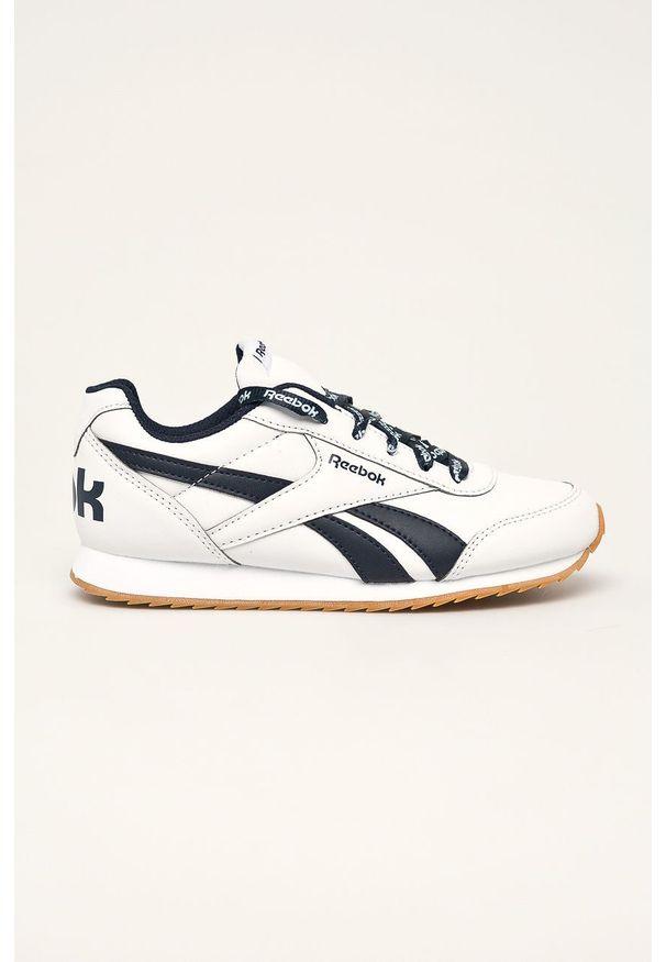 Białe buty sportowe Reebok Classic na sznurówki, z cholewką, z okrągłym noskiem, Reebok Classic