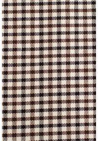 Makover - Minimalistyczna sukienka 7/8 w drobną kratkę w rozcięciem. Materiał: materiał. Wzór: kratka