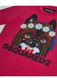 DSQUARED2 KIDS - Różowa koszulka z kolorowym nadrukiem 0-3 lata. Kolor: różowy, fioletowy, wielokolorowy. Materiał: jersey, bawełna. Wzór: kolorowy, nadruk. Sezon: lato