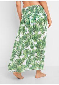 Sukienka plażowa 2 w 1 bonprix biało-zielony z roślinnym nadrukiem. Okazja: na plażę. Kolor: biały. Wzór: nadruk