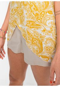 Top z frędzlami bonprix żółty szafranowy wzorzysty. Kolor: żółty