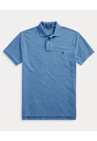 Ralph Lauren - RALPH LAUREN - Niebieska polówka Mesh Custom Fit. Typ kołnierza: polo. Kolor: niebieski. Materiał: mesh. Długość: długie. Wzór: melanż, haft, ze splotem. Styl: klasyczny