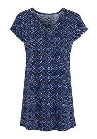 Niebieska tunika Cellbes z dekoltem w serek, z krótkim rękawem, krótka