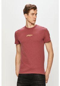Jack & Jones - T-shirt. Okazja: na co dzień. Kolor: różowy. Materiał: dzianina. Wzór: aplikacja. Styl: casual