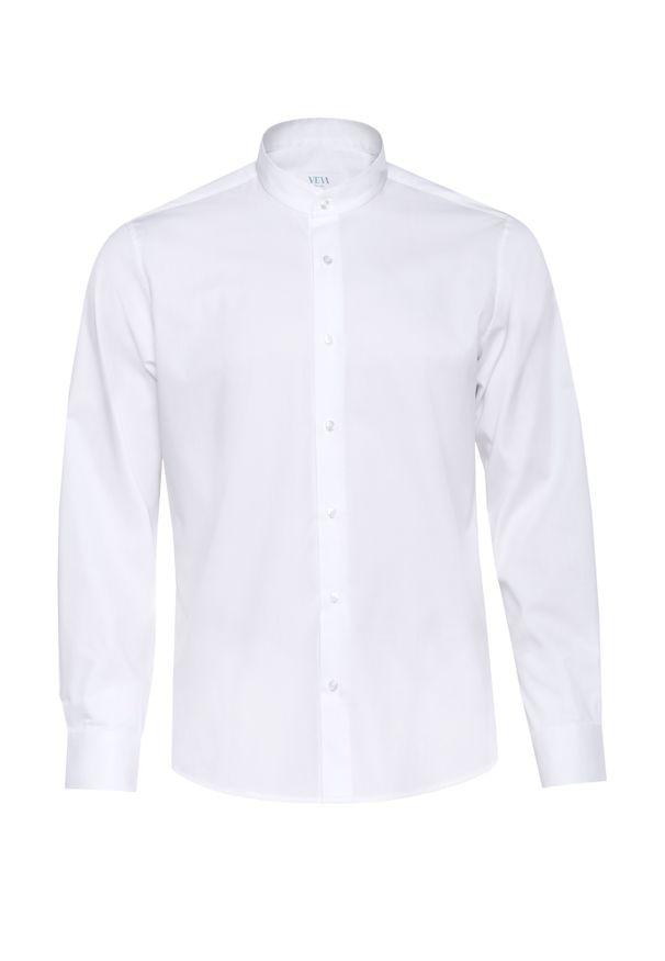 Biała koszula VEVA z długim rękawem, ze stójką, długa