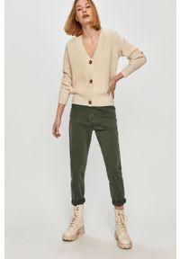 Zielone jeansy loose fit Answear Lab wakacyjne, gładkie, z podwyższonym stanem