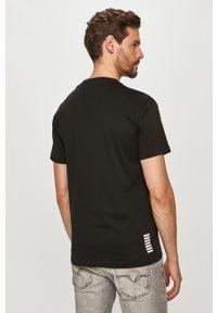 Czarny t-shirt EA7 Emporio Armani z aplikacjami, casualowy