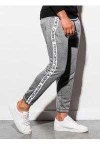 Ombre Clothing - Spodnie męskie dresowe joggery P899 - szary melanż - XXL. Kolor: szary. Materiał: dresówka. Wzór: melanż
