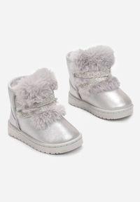 Born2be - Srebrne Śniegowce Yreliene. Wysokość cholewki: za kostkę. Nosek buta: okrągły. Zapięcie: bez zapięcia. Kolor: srebrny. Materiał: futro. Szerokość cholewki: normalna. Wzór: aplikacja