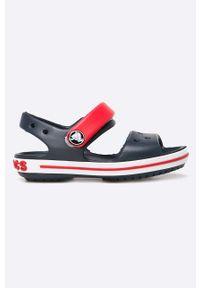 Niebieskie sandały Crocs z okrągłym noskiem, na rzepy