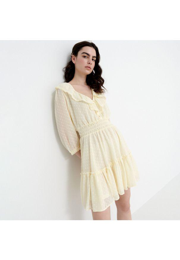 House - Sukienka z tkaniny plumeti - Żółty. Kolor: żółty. Materiał: tkanina