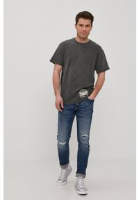 Szary t-shirt Tommy Jeans na co dzień, casualowy, z aplikacjami