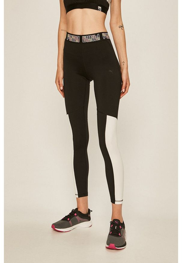 Czarne legginsy sportowe Puma z podwyższonym stanem, z nadrukiem