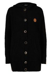 Sweter rozpinany z kapturem bonprix czarny. Typ kołnierza: kaptur. Kolor: czarny. Materiał: skóra. Długość: długie