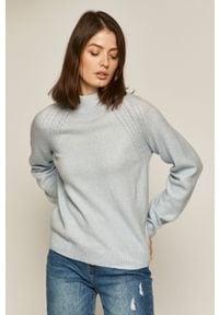 Niebieski sweter medicine raglanowy rękaw, na co dzień, casualowy