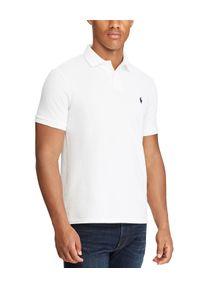 Ralph Lauren - RALPH LAUREN - Biała koszulka polo Custom Slim Fit. Typ kołnierza: polo. Kolor: biały. Materiał: bawełna. Wzór: haft #5