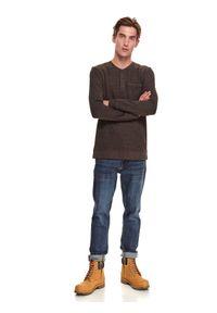 TOP SECRET - T-shirt z kieszenią. Kolor: brązowy. Materiał: tkanina. Długość rękawa: długi rękaw. Długość: długie. Sezon: jesień