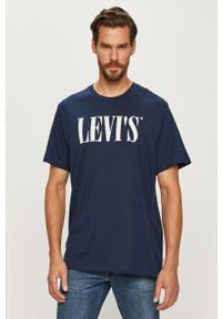 Niebieski t-shirt Levi's® z okrągłym kołnierzem, casualowy, z nadrukiem, na co dzień