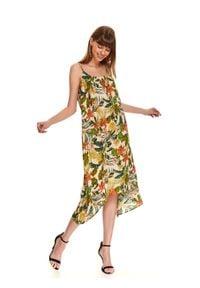 TOP SECRET - Sukienka w egzotyczny nadruk. Kolor: zielony. Materiał: wiskoza. Długość rękawa: na ramiączkach. Wzór: nadruk. Sezon: lato. Typ sukienki: asymetryczne. Styl: wakacyjny. Długość: midi