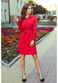 Numoco - Koszulowa sukienka z kieszonkami i wiązaniem. Materiał: materiał, elastan. Typ sukienki: koszulowe
