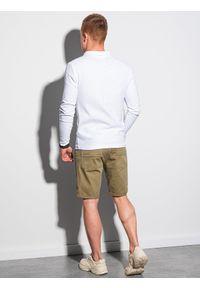 Ombre Clothing - Longsleeve męski bez nadruku L132 - biały - XXL. Typ kołnierza: polo. Kolor: biały. Materiał: bawełna, materiał, jeans. Długość rękawa: długi rękaw. Wzór: ze splotem #3