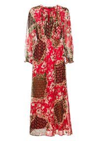 Długa sukienka z nadrukiem bonprix czerwony z nadrukiem. Kolor: czerwony. Wzór: nadruk. Długość: maxi