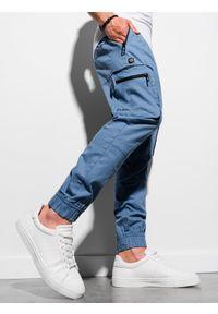 Ombre Clothing - Spodnie męskie joggery P960 - niebieskie - XXL. Kolor: niebieski. Materiał: bawełna, materiał