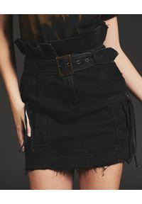 RETROFETE - Jeansowa spódnica Shalina. Okazja: na co dzień. Stan: podwyższony. Kolor: czarny. Materiał: jeans. Styl: casual