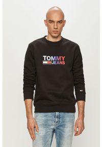 Czarna bluza nierozpinana Tommy Jeans z nadrukiem, casualowa, na co dzień