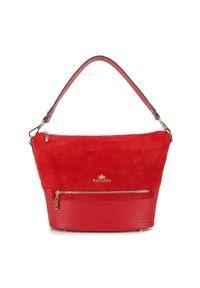 Czerwona torebka worek Wittchen biznesowa, w paski, skórzana, z haftem