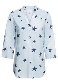 Niebieska bluzka bonprix z dekoltem w serek, z nadrukiem