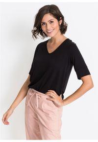 Czarna bluzka bonprix z krótkim rękawem, krótka
