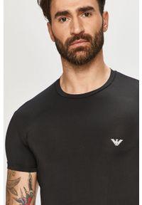 Czarny t-shirt Emporio Armani gładki