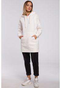 e-margeritka - Bluza damska z kapturem długa ecru - l/xl. Okazja: na co dzień. Typ kołnierza: kaptur. Materiał: poliester, dzianina, materiał, bawełna. Długość: długie. Styl: casual
