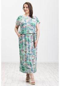 Moda Size Plus Iwanek - Pistacjowa sukienka Salma MAXI XXL OVERSIZE LATO. Kolor: zielony. Materiał: wiskoza, dzianina, elastan. Wzór: nadruk. Sezon: lato. Typ sukienki: oversize. Długość: maxi