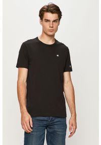 Czarny t-shirt Champion casualowy, z okrągłym kołnierzem, z aplikacjami
