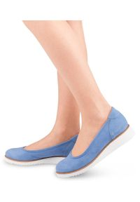 Niebieskie półbuty STAGÓRS eleganckie, w kolorowe wzory, bez zapięcia