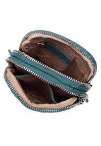Wittchen - Minitorebka skórzana z dżetami. Kolor: morski. Wzór: jednolity, gładki, aplikacja. Materiał: skórzane. Rodzaj torebki: na ramię
